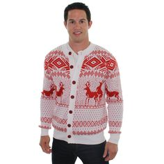 2b89c2bf3f23 Amazon.com  Ugly Christmas Sweater - Reindeer Double Date Cardigan by Tipsy  Elves  Clothing