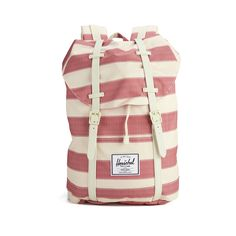 Herschel Women's Retreat Stripe Backpack - Natural ($110) ❤ liked on Polyvore featuring bags, backpacks, drawstring backpack, red drawstring backpack, pocket backpack, strap backpack and red backpack