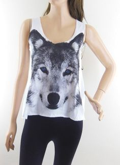 Wolf Blue Eyes Shirt Wolf Tank Top Wolf Shirt Women by sinclothing, $15.99