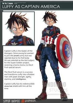 Luffy en la piel de Captain America