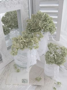Simply wrap glass vases in lace fill with dried hydranges, Beautiful