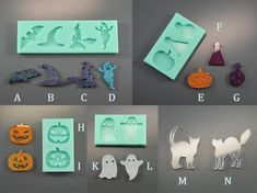 Halloween silicone mold - Each item separetely - Mould for a brooch, pendant, earrings, interior - Form for epoxy resin, polymer clay Resin Jewelry Making, Jewelry Making Supplies, Art Supplies, Diy Resin Crafts, Diy Crystals, Silicone Molds, Resin Molds, Halloween Crafts, Polymer Clay