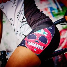 Cycle short with sweet sugar skull Gipsy Rose, Funky Design, Sugar Skull, Cycling, Glamour, Womens Fashion, Sweet, Bags, Candy