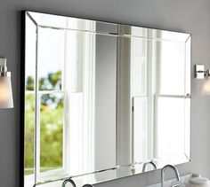 w x tall Astor Double-Width Mirror Large Bathroom Mirrors, Large Bathrooms, Small Bathroom, Bathroom Ideas, Master Bathroom, Glass Mirrors, Natural Bathroom, Bathroom Bath, Mirror Mirror