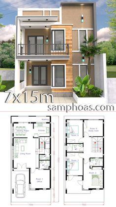 Home Design Plan with 5 Bedrooms – SamPhoas Plan Home Design Plan mit 5 Schlafzimmern – SamPhoas Plansearch 2 Storey House Design, Duplex House Design, House Front Design, Small House Design, Modern House Design, 5 Bedroom House Plans, Duplex House Plans, Dream House Plans, Small House Plans
