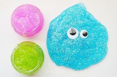 Make Glitter Slime in just four simple steps ~ Kids love making time for slime! Okay, some of us adults like it, too! :)    All you need is:    1 Elmer's Glitter Glue    1 Cup Water    1 tsp. Borax    1 Tb Water    Directions found at http://www.the36thavenue.com/2012/09/how-to-make-glitter-slime.html