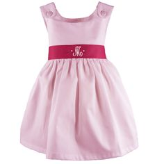Pique Dress with Sash, Pink Monogrammed dress, perfect for a little girl💐 Girls Easter Dresses, Birthday Dresses, Little Girl Dresses, Girls Dresses, Summer Dresses, Easter Outfit, Girly Outfits, Our Girl, Special Occasion Dresses