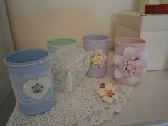 vintage/shabby chic painted tin can vase, wedding favours, decorations, gifts Shabby Chic Vanity, Shabby Chic Wallpaper, Shabby Chic Wall Decor, Shabby Chic Pillows, Shabby Chic Living Room, Shabby Chic Interiors, Vintage Shabby Chic, Chic Bedding, Cottage Living