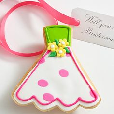 Will You Be My? Edible Joan Dress Cookie Card