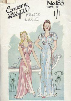 "1940s WW2 Vintage Sewing Pattern B36"" NIGHTDRESS (1197) | eBay"