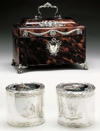 A PAIR OF GEORGE III SILVER TEA CADDIES WITH SILVER-MOUNTED TORTOISE SHELL CASE** London, 1771, Mark T.I. (Grimwade no. 3840) Each oval, engraved with ribbon and laurel leaf border, with scenes of Chinese figures in exotic landscapes, one harvesting melons, another holding bells, the hinged cover applied with flower sprig finial, the body engraved with a crest, one with silver-gilt interior, one lead lined,