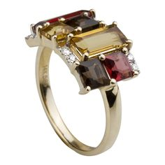 14K yellow gold ring with semi precious stones and diamonds