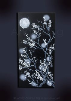 Black And White Cherry Blossom Moon Painting Original Art Dark Gothic Japanese Style
