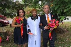 Our colors: navy blue, hot pink, orange and gold on our maid of honor and best man