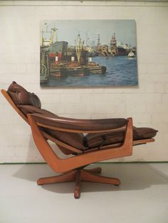 SCANDINAVIAN MODERN Design Teak Danish LOUNGE CHAIR LEDER RELAX SESSEL 60er  70s