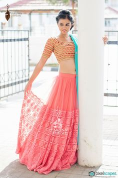 Looking for peach lehenga? Browse of latest bridal photos, lehenga & jewelry designs, decor ideas, etc. on WedMeGood Gallery. Lehenga Sari, Bridal Lehenga, Anarkali, Sabyasachi Lehengas, Orange Lehenga, Choli Designs, Blouse Designs, Indian Look, Indian Ethnic Wear