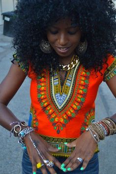rocking all sorts of bright colors with natural curls & boho jewelry ☮ African Attire, African Wear, African Dress, African Style, African Beauty, African Women, African Inspired Fashion, African Print Fashion, African Prints