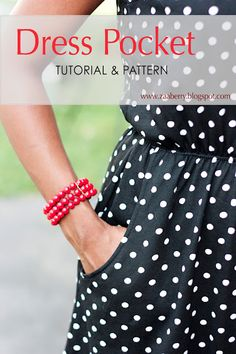 DIY Dress Pockets - FREE Sewing Pattern and Tutorial (pattern for pocket only!) with link to tutorial for making your jersey dress from existing pattern or clothing Sewing Patterns Free, Free Sewing, Clothing Patterns, Pattern Sewing, Free Pattern, Techniques Couture, Sewing Techniques, Dress Tutorials, Sewing Tutorials