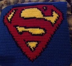 Superman Logo and Charts for many other super heros Crochet For Boys, Cute Crochet, Crochet Motif, Crochet Yarn, Crochet Stitches, Crochet Patterns, Crochet Afghans, Crochet Blankets, Baby Blankets