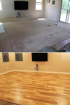 "Handscraped @ Home: here's a family room makeover with gorgeous Natural Hickory Hardwood! ""We removed the carpet, and over a two day period installed over 300 sqft of flooring. This was our first time and it was easier than we thought."" – Peter, AZ"