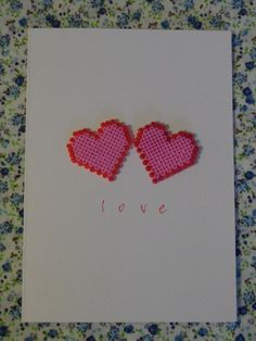 "Hama Beads Hearts ("",) thank you teacher card ideas"