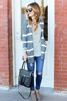 A high-quality, adorable striped cardigan that will take you from yoga, to errands, to a coffee date! A great transitional piece for your wardrobe!