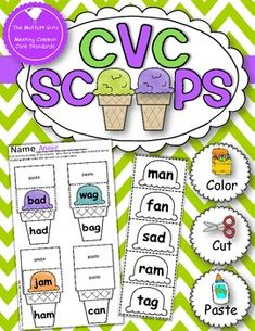 CVC Scoops are a super fun and hands-on way to practice 25 different simple CVC word families! Kids get to color, cut and paste the correct ...