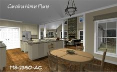 Spacious, open floor plan with island and lunch counter/bar (MS-2390-AC).