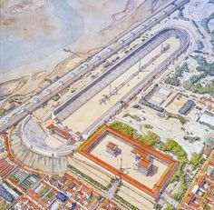Hippodrome of Lageion in Alexandria, Egypt by Jean-Claude Golvin Historical Architecture, Ancient Architecture, Art And Architecture, Ancient Rome, Ancient Greece, Ancient History, Le Sphinx, Minoan Art, Greek Pantheon