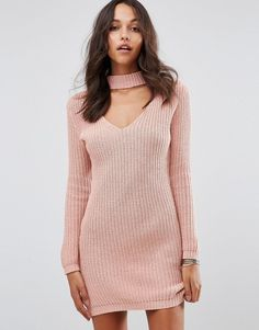 Boohoo Choker Detail Sweater Dress at ShopStyle.