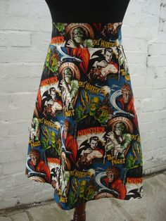 Monster Mash Skirt High Waisted A Line Made by sweetcheeksstitches, £30.00