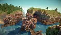 Minecraft Coastal City ~ I wanna build this but I wish I could build it in warp speed. Minecraft Castle, Minecraft Medieval, Minecraft City, Minecraft Plans, Minecraft Construction, Minecraft Tutorial, Minecraft Blueprints, Minecraft Creations, Minecraft Designs
