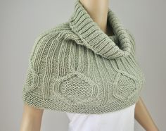 Snow Diamond - Hand Knit CAPELET/ PONCHO in light celery green