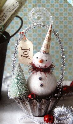 Snowman tart tin ornament - the inspiration