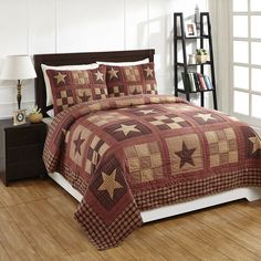 Patchwork Quilt Set King Bradford Star Red Tan Primitive Bedroom Decor Bedding -- Warm your home in classic country style with this patchwork quilt!  Features a traditional look of 9-patch squares and stars, with various homespun plaids in burgundy, red, and tan.  The set includes the quilt and two matching shams.  This is for the KING size. #primitivebedroom #quilts