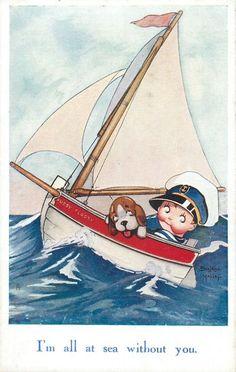 Beatrice Mallet, Vintage Oilette Postcard 1935 - Cute Kiddies Set: