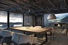 Superior Modern Industrial Interior Design For Dining Room With Nice Rustic Furniture Set