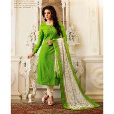 Green Silk #Indian Churidar Kameez With Dupatta #Salwarkameez