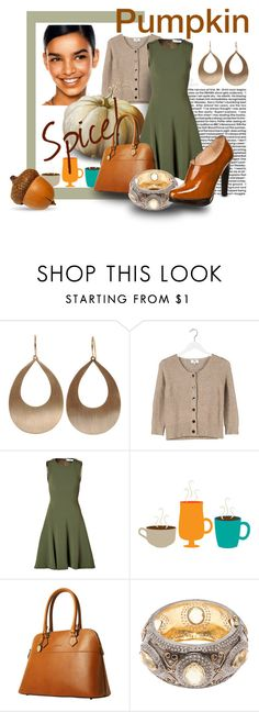 """""""Pumpkin Spice"""" by vingananee ❤ liked on Polyvore featuring Irene Neuwirth, Trilogy, Noa Noa, Prabal Gurung, Dooney & Bourke, Native Jewels, BF Colección Europa, Fall, autumn and cardigan"""