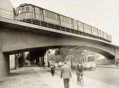 Berlin 1958 Hochbahn Scharnweberstrasse und Strassenbahn der Linie 41 (Bernauerstrasse/Wollinerstrasse--Tegel/Alt-Tegel)