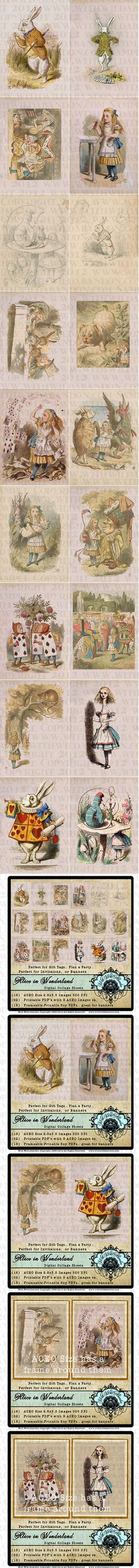 Color Illustrations of Original John Tenniel 's drawings. Alice in Wonderland, March Hare, White Rabbit, Mad Hatter, Cheshire Cat, Illustrations from John Tenniel, Printable Tags, Frameable Art These are the illustrations from the first printing of Alice in Wonderland by John Tenniel published in 1866. (2) Printable 8.5x11 Printable PDF of 9 Aged Alice in Wonderland Tags (total 1 8 tags) (18) Printable 5x7 Images suitable for framing or for banners (18) jpegs of the ACEO or ATC Size Tags