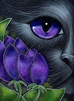 Art: BLACK CAT BEHIND THE VIOLET TULIPS by Artist Cyra R. Cancel