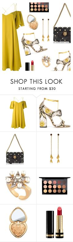 """""""Outfit of the Day"""" by dressedbyrose ❤ liked on Polyvore featuring Essentiel, Gucci, MA'AN, Schield Collection, MAC Cosmetics, Too Faced Cosmetics, ootd, inspiration and polyvoreeditorial"""