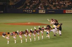 Baseball, Japan - In Japan baseball has cheerleaders, this is the squad for the Chiba Lotte Marines