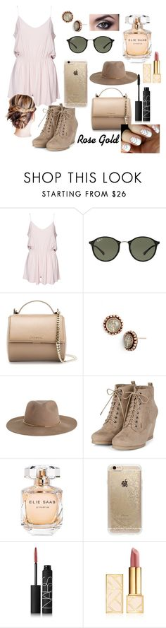 """""""Rose Gold"""" by maisy-loren ❤ liked on Polyvore featuring Ray-Ban, Givenchy, Virgins Saints & Angels, Zimmermann, Elie Saab, Rifle Paper Co, NARS Cosmetics and Tory Burch"""