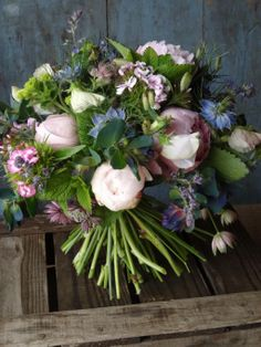 Beautiful bouquet of flowers with pink peonies, blue niglella, white sweet peas and various other goodies. @Catkin Embedded image permalink
