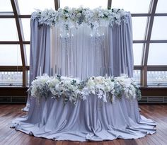 Pale Periwinkle Bride & Grooms Table Backdrop