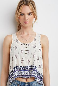 Faded Floral Crinkled Tank