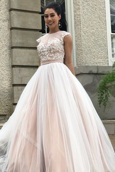 f2e3793666b A-line Champagne Tulle Long Prom Dress