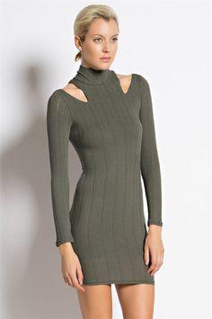 Long sleeve, high mock neck, bodycon dress $44.00